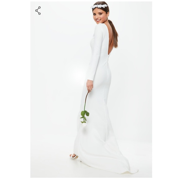 a7a0f273a0b1 white long sleeve open back fishtail dress